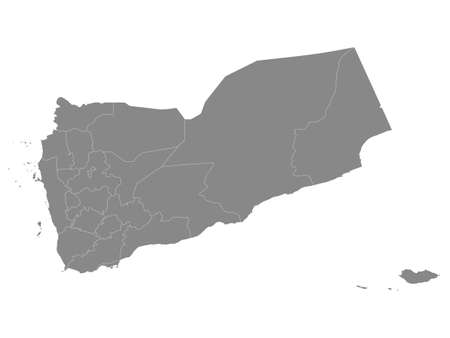 Grey Flat Provinces Map of the Asian Country of Yemen Иллюстрация