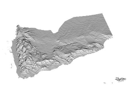 Black and White 3D Contour Topography Map of the Asian Country of Yemen Иллюстрация