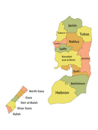 Pastel Colored Labeled Flat Governorates Map of the Middle Eastern Country of Palestine