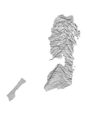 Black and White 3D Contour Topography Map of the Middle Eastern Country of Palestine Иллюстрация