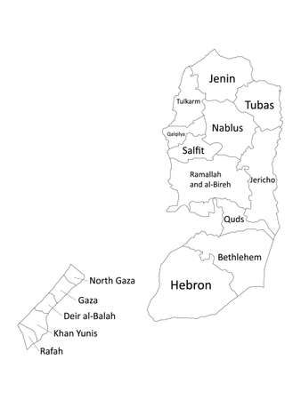 White Labeled Flat Governorates Map of the Middle Eastern Country of Palestine