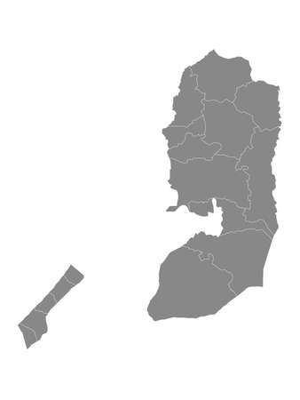 Grey Flat Governorates Map of the Middle Eastern Country of Palestine