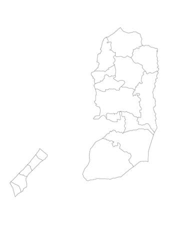 White Flat Governorates Map of the Middle Eastern Country of Palestine