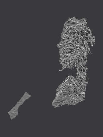 Dark Black and White 3D Contour Topography Map of the Middle Eastern Country of Palestine  イラスト・ベクター素材