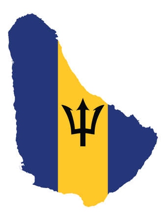 Vector Illustration of the Flag Incorporated Into the Map of Barbados