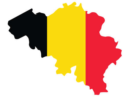 Vector Illustration of the Flag Incorporated Into the Map of Belgium Иллюстрация