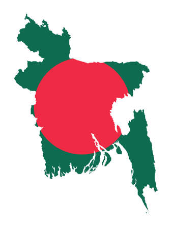 Vector Illustration of the Flag Incorporated Into the Map of Bangladesh