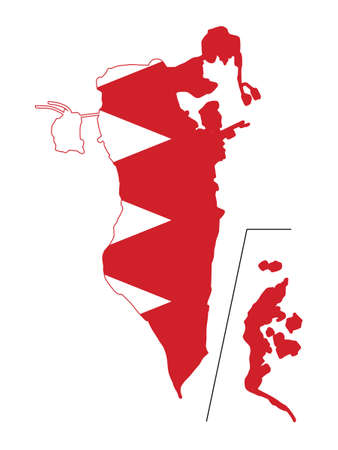 Vector Illustration of the Flag Incorporated Into the Map of Bahrain Иллюстрация