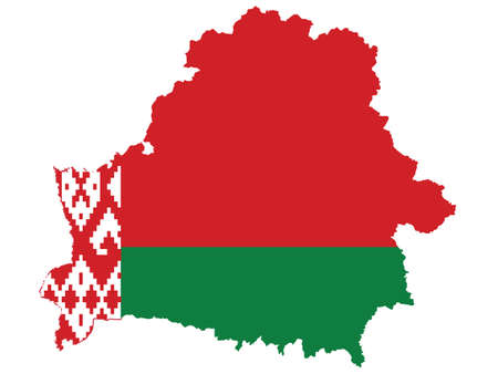 Vector Illustration of the Flag Incorporated Into the Map of Belarus