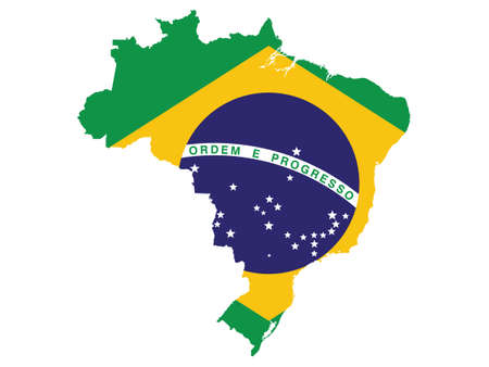 Vector Illustration of the Flag Incorporated Into the Map of Brazil Vector Illustratie