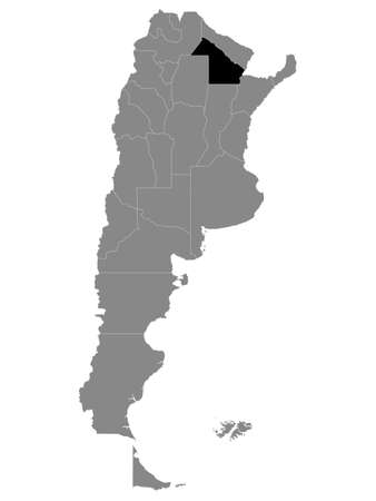 Black Location Map of the Argentinian Province of Chaco within Grey Map of Argentina
