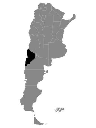 Black Location Map of the Argentinian Province of Neuquén within Grey Map of Argentina