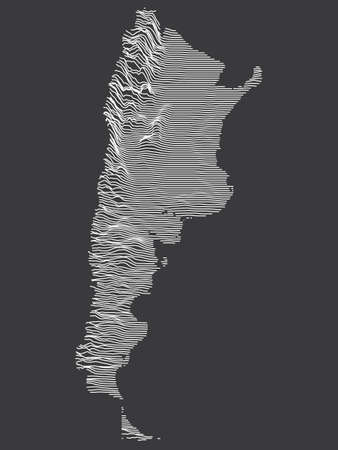 Dark Black and White 3D Contour Topography Map of the South American Country of Argentina