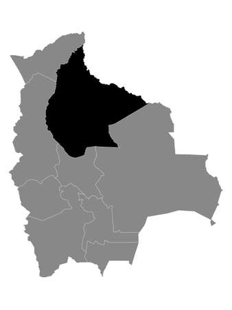 Black Location Map of the Bolivian Department of Beni within Grey Map of Bolivia Vector Illustration
