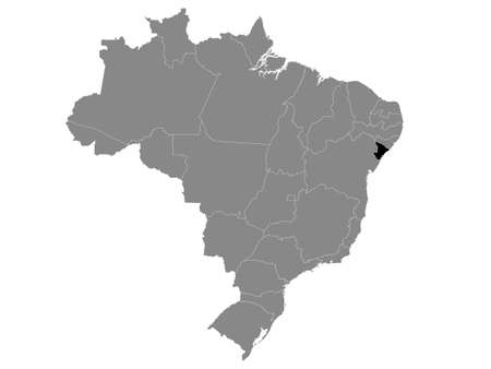 Black Location Map of the Brazilian State of Sergipe within Grey Map of Brazil Illustration