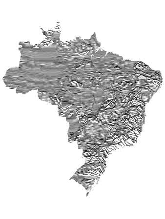 Black and White 3D Contour Topography Map of the South American Country of Brazil