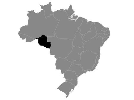 Black Location Map of the Brazilian State of Rondônia within Grey Map of Brazil Illustration