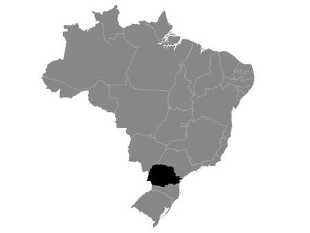 Black Location Map of the Brazilian State of Paraná within Grey Map of Brazil