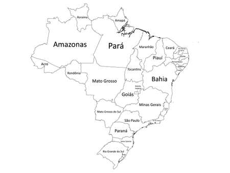 White Labeled Flat Provinces Map of the South American Country of Brazil