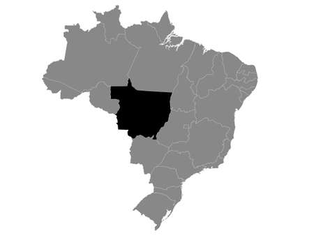 Black Location Map of the Brazilian State of Mato Grosso within Grey Map of Brazil