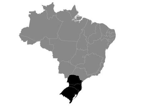 Black Location Map of the South Brazilian Region within Grey Map of Brazil Vector Illustration