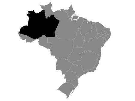 Black Location Map of the Brazilian State of Amazonas within Grey Map of Brazil