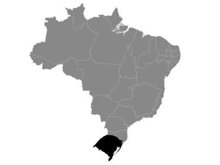 Black Location Map of the Brazilian State of Rio Grande do Sul within Grey Map of Brazil