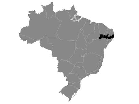 Black Location Map of the Brazilian State of Pernambuco within Grey Map of Brazil