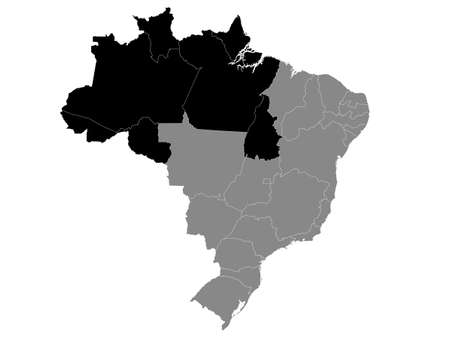 Black Location Map of the North Brazilian Region within Grey Map of Brazil