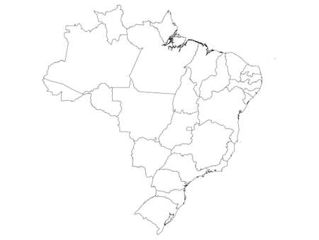 White Flat Provinces Map of the South American Country of Brazil