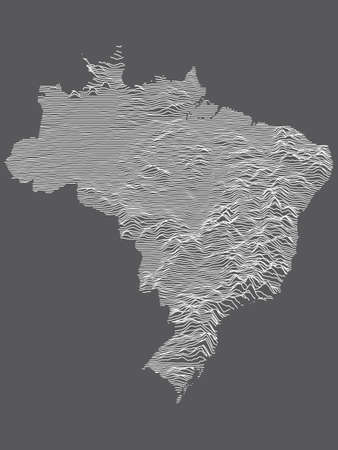 Dark Black and White 3D Contour Topography Map of the South American Country of Brazil