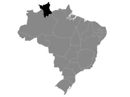 Black Location Map of the Brazilian State of Roraima within Grey Map of Brazil Illustration