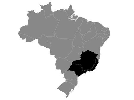 Black Location Map of the Southeast Brazilian Region within Grey Map of Brazil Illustration