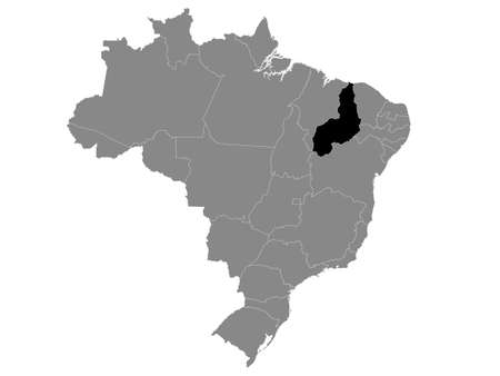 Black Location Map of the Brazilian State of Piauí within Grey Map of Brazil Illustration