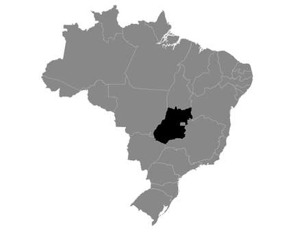 Black Location Map of the Brazilian State of Chaco within Grey Map of Brazil