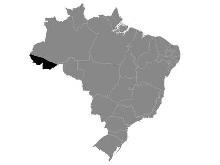 Black Location Map of the Brazilian State of Acre within Grey Map of Brazil