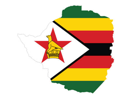 Vector Illustration of the Flag Incorporated Into the Map of Zimbabwe