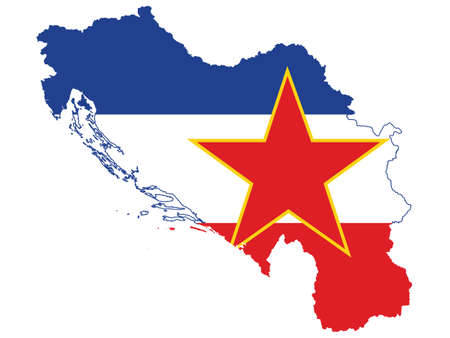 Vector Illustration of the Flag Incorporated Into the Map of former Yugoslavia