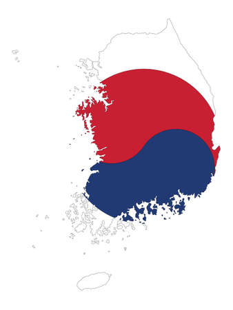 Vector Illustration of the Flag Incorporated Into the Map of South Korea