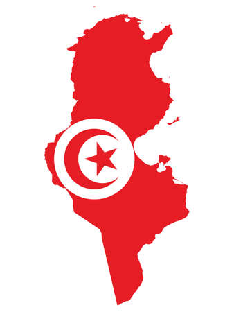 Vector Illustration of the Flag Incorporated Into the Map of Tunisia Illustration