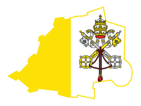 Vector Illustration of the Flag Incorporated Into the Map of Vatican City Illustration