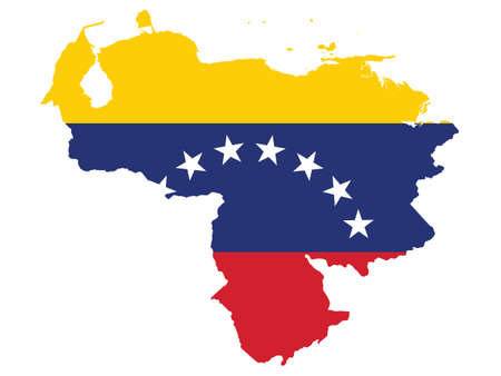 Vector Illustration of the Flag Incorporated Into the Map of Venezuela