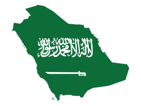 Vector Illustration of the Flag Incorporated Into the Map of Saudi Arabia