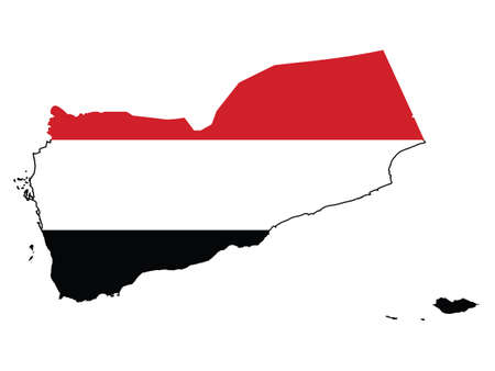 Vector Illustration of the Flag Incorporated Into the Map of Yemen