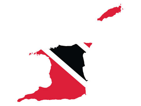 Vector Illustration of the Flag Incorporated Into the Map of Trinidad and Tobago