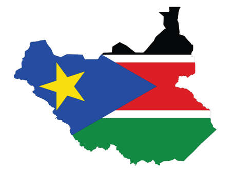 Vector Illustration of the Flag Incorporated Into the Map of South Sudan