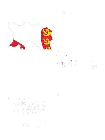 Vector Illustration of the Flag Incorporated Into the Map of Jersey