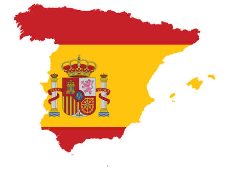 Vector Illustration of the Flag Incorporated Into the Map of Spain