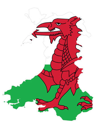 Vector Illustration of the Flag Incorporated Into the Map of Wales