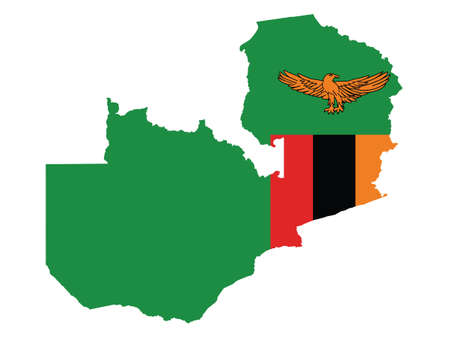 Vector Illustration of the Flag Incorporated Into the Map of Zambia